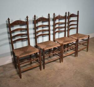 Set Of 4 Antique Dutch Ladder Back Dining Chairs In Solid Walnut W Rush Seats