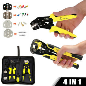 Insulated Cable Terminal Ratchet Crimping Tool Automatic Wire Crimper Pliers Bag