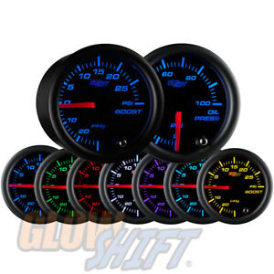Glowshift 52mm Black 7 Color 30psi Boost vacuum 100psi Oil Pressure Gauge Set