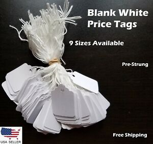 Blank White Merchandise Price Tags W String Jewelry Retail Strung 100 1000 Pcs