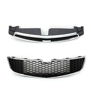 Car Grill Front Upper Lower Grille Insert Chrome Surround For Chevy Cruze 11 14