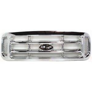 Grille For 99 2004 Ford F 250 Super Duty F 350 Super Duty Chrome Plastic