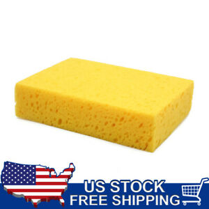 Yellow Rectangle Shape Car Wash Sponge Perforated Surface For Vehicle Cleaning