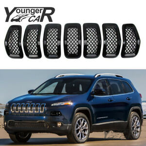 For 2014 2015 2016 2017 2018 Jeep Cherokee Painted Gloss Black Mesh Grille Cover