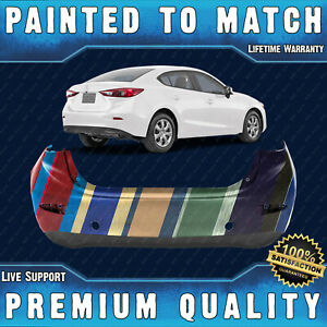 New Painted To Match Rear Bumper Cover Fascia For 2014 2018 Mazda 3 Sedan 14 18