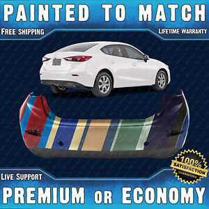New Painted To Match Rear Bumper Cover For 2014 2018 Mazda 3 Sedan 4 door 14 18