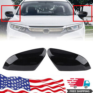 For 2016 2019 Honda Civic Carbon Fiber Black Side Rear View Mirror Cover Cap