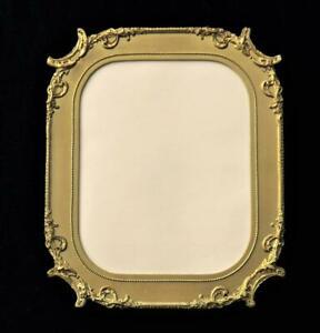 Antique Wood And Gilt Gesso Picture Frame W Glass For 8x10 Early 1900s