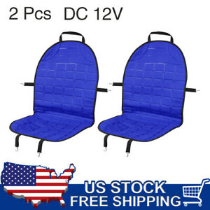 2pcs Universal 12v Heated Front Car Seat Cover Cushion Heater Warmer Pad Blue