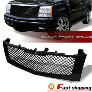 Fit 2002 2006 Cadillac Escalade Glossy Mesh Black Grill Front Hood Bumper Grille