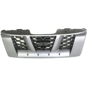 Grille For 2005 2008 Nissan Xterra Silver Shell W Gray Insert Plastic