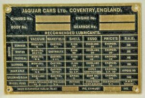 Jaguar Early Id Plate Brass New Not Engraved