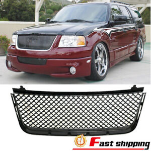 Fit Ford Expedition 2003 2006 Front Hood Mesh Grille Gloss Black Abs Plastic