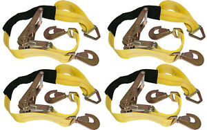 4 Yellow Axle Straps Car Carrier Tie Down Straps With Ratchets Tow Straps