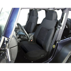 For Jeep Wrangler Tj 03 06 Front Fabric Seat Covers Pair Black X 13243 01