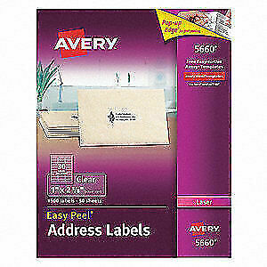 Avery Synthetic Film Label 2 5 8 w X 1 h 1500 Labels Pk50 5660