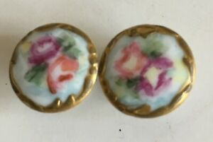 Pair Antique Roses W Gold Trim Porcelain Stud Buttons