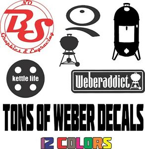 6 Weber Kettle Logo Grill Bbq Barbecue Smokey Charcoal Smoker Vinyl Decal Nobs