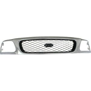 Grille For 97 98 Ford F 150 F 250 Chrome Shell W Silver Insert Plastic