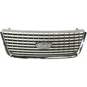 Grille For 2003 2006 Ford Expedition Chrome Shell W Gray Insert Plastic