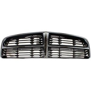 Grille For 2006 2010 Dodge Charger Chrome Shell W Gray Insert Plastic