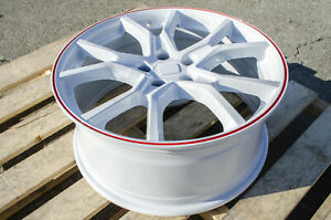19x8 5x114 3 35 White Red Type R Style Rims Fits Honda Civic Si Accord 5x4 5
