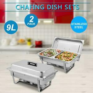 2 Pack Catering Stainless Steel Chafer Chafing Dish Sets 9l 8qt 1 2 Size Buffet