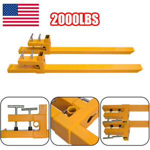 Pair Of Clamp On To Tractor Bucket Pallet Forks 2000 Lbs Capacity 43 Usable