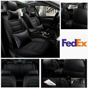Car 5 seats Pu Full Set Seat Cover Front And Rear Cushion Neck