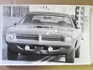 1970 Plymouth Hemi Barracuda 426 Coupe 12 By 18 Black White Picture