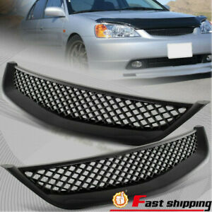 Fit 2001 2003 Honda Civic Jdm Type Black Mesh Style Front Hood Grille Grill