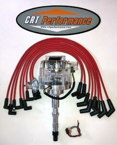 Amc jeep 290 304 343 360 390 401 Hei Distributor Clear Red 8mm Wires Usa