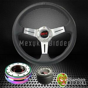 Silver Deep Dish Steering Wheel Neo Chrome Quick Release For Honda Civic 96 00