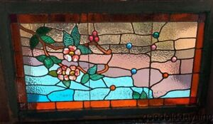 Antique Chicago Victorian Stained Leaded Glass Transom Window Flowers
