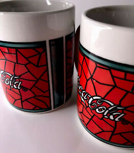 Gibson Vintage Red&White Coca Cola Mugs 1996 Two (2) Cups Identical Collectible