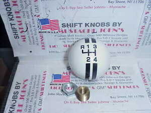 Rally 4 Speed Shift Knob Reverse Up Left white W Black Made In The U s a