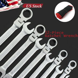 8 19mm Metric Flexible Spanners Ratchet Wrench Polished Tool Set Kit 12 Pcs Us