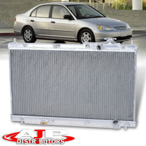 Dual Core Row Performance Engine Cooling Radiator For 2001 2005 Honda Civic 1 7l