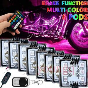8 Pod Motorcycle Led Light Kit Multi Color Accent Under Glow Neon Remote Control