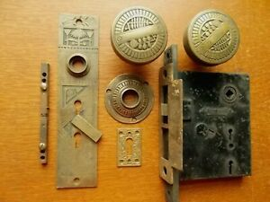 Antique Fancy Victorian Entry Door Set Doorknobs Plates Lock Nashua C1885