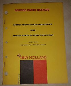 New Holland 1880 Forage Harvester1880s 12 foot Sickle Bar Service Parts Catalog