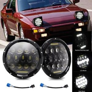 Dot 7inch Round Led Headlights Bulb Dot Headlamp Drl Fit For Porsche 944 Pair