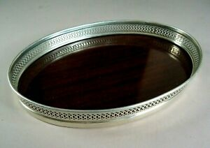 Vintage Sterling Silver 9 25 Open Work Oval Tray Or Bowl Formica Bottom 347g