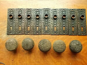 Lot Of Antique Victorian Passage Doorplates Doorknobs Mallory Wheeler C1885