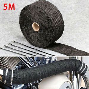 5m Motorcycle Exhaust Insulation Glass Fiber Tape Wrap Thermal Strip W 4 Ties
