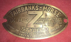 1 1 2 H p Brass Tag Fairbanks Morse zd Hit Miss Engine Tractor Auto Antique