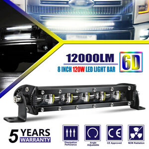8 Inch Slimest Led Light Bar Spot Beam Fog Snow Lamp For Truck 4wd Utv Suv Atv