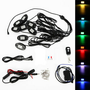 8 X Waterproof Ip68 Rc Music Led Rock Lights Rgb Color Under Car