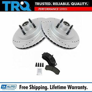 Front Posi Ceramic Brake Pad Performance Drilled Slotted Coated Rotor