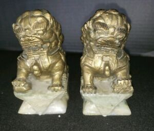Pair Chinese Foo Fu Dog Guardian Lion 4 25 Very Detailed Gold